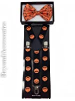 New Suspender Bow Tie Matching Colors Adults Unisex Formal - Halloween Orange Pumpkins