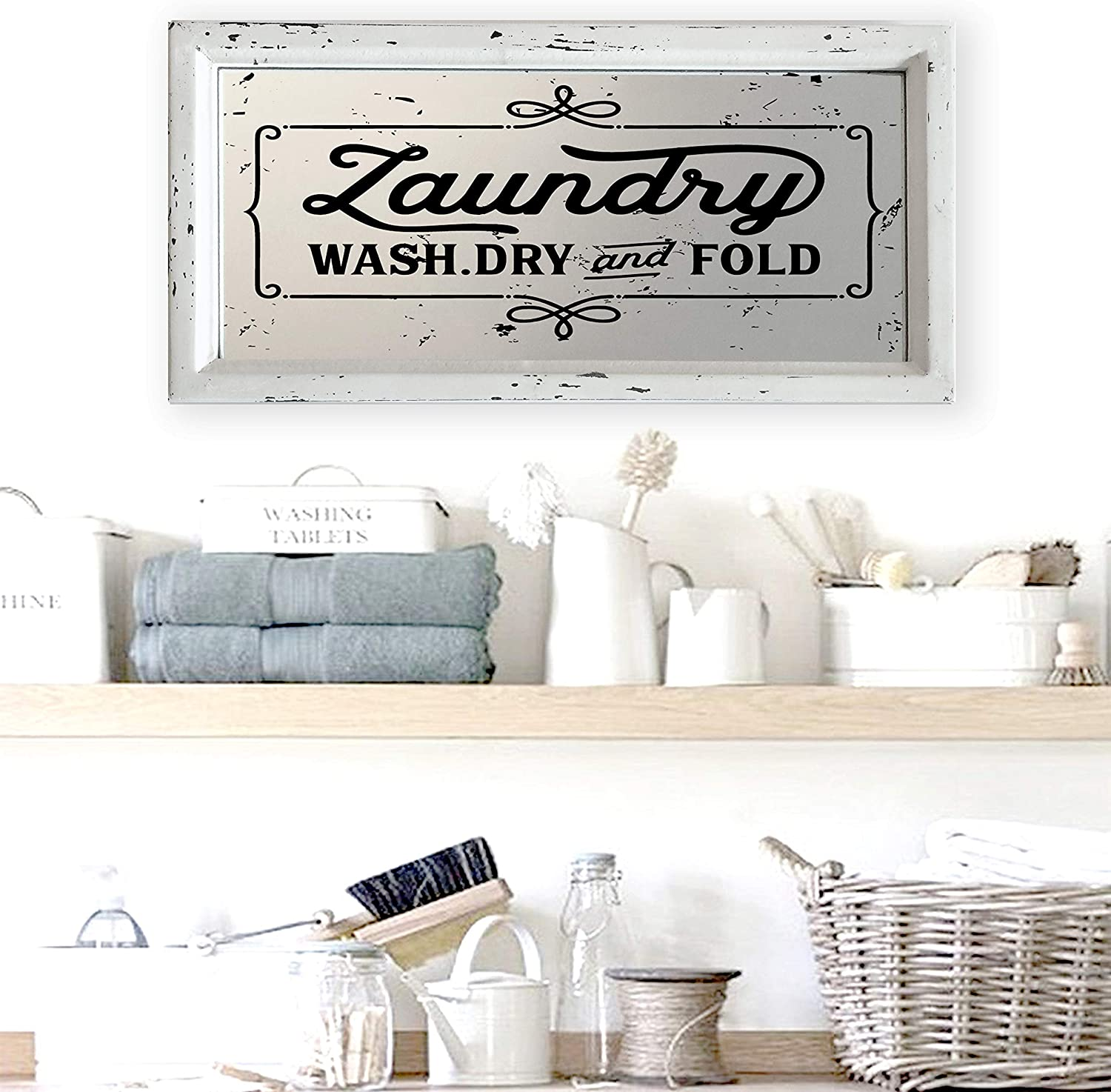 "Teatime Decor Laundry Room Sign I Distressed Finish on Wood Framed Mirror, 16.5"" x 8.25"""