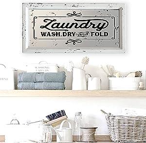 "Teatime Decor Laundry Room Sign I Distressed Finish on Wood Framed Mirror, 16.5"" x 8.25"""