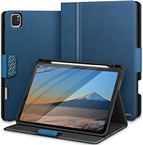 KingBlanc iPad Pro 11 Case 2020 with Pencil Holder, Supports Apple Pencil(2nd Gen) Wireless Pair/Charging, Auto Sleep/Wake Function, PU Leather Folio Smart Cover for iPad Pro 11 inch 2018/2020 (Blue)