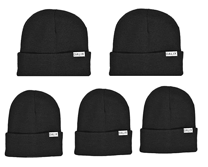 DALIX Black Beanie Cap Hat 5 Pack Sale at Amazon Men s Clothing store  e0c108591fa