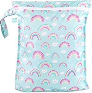 Bumkins Waterproof Wet Bag, Washable, Reusable for Travel, Beach, Pool, Stroller, Diapers, Dirty Gym Clothes, Wet Swimsuits, Toiletries, Electronics, Toys, 12x14 - Rainbows