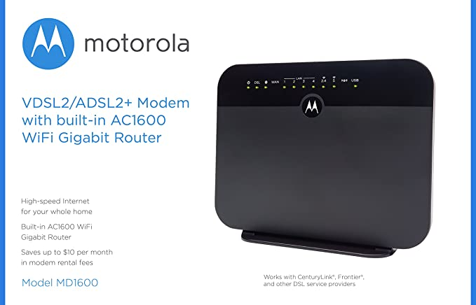 MOTOROLA VDSL2/ADSL2+ Modem + WiFi AC1600 Gigabit Router, Model MD1600, for  Non-Bonded, Non-Vectoring DSL from CenturyLink, Frontier, and Some Other