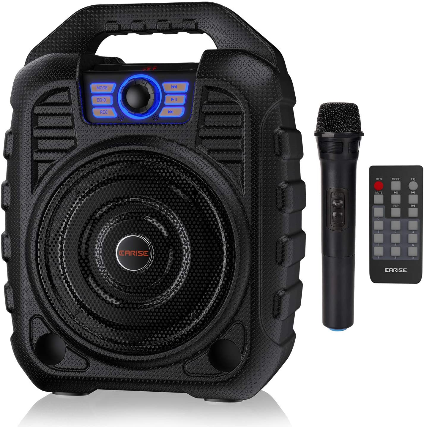 EARISE T26 Portable Karaoke Machine Bluetooth Speaker with Wireless Microphone, Rechargeable PA System with FM Radio, Audio Recording, Remote Control, Supports TF Card/USB, Perfect for Party: Musical Instruments