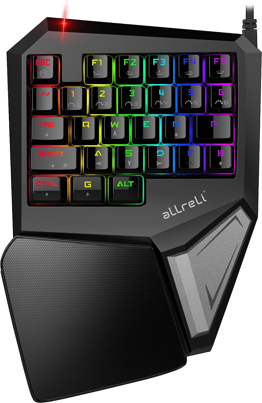 aLLreli Teclado Mecánico RGB para una Mano Gaming (programables Teclas, LED Backlit) Negro