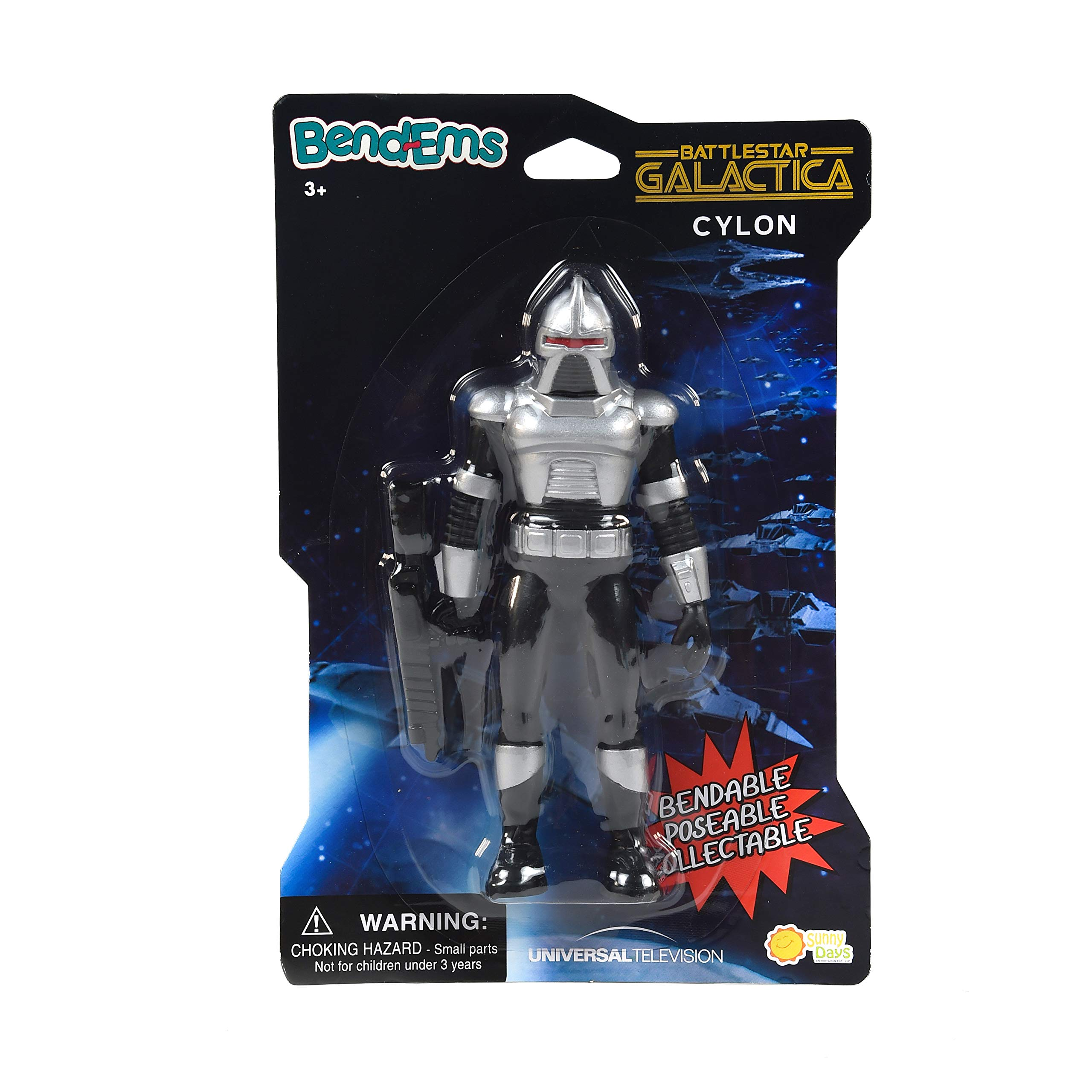 Sunny Days Entertainment BendEms Collectible Posable Action Figure - Battle Star Galactica - Cylon, Multi (220017)