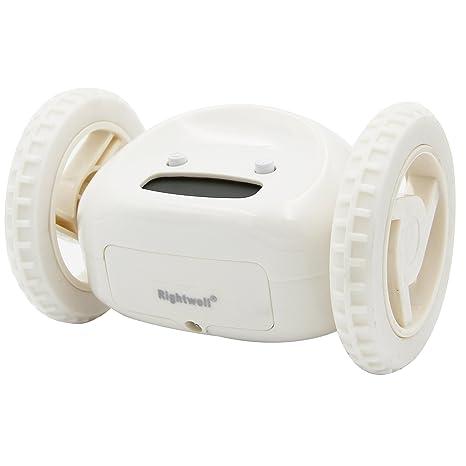 RIGHTWELL Despertador Reloj con Alarma Sobre Ruedas-Despertador LED con Información de Fecha(Blanco)