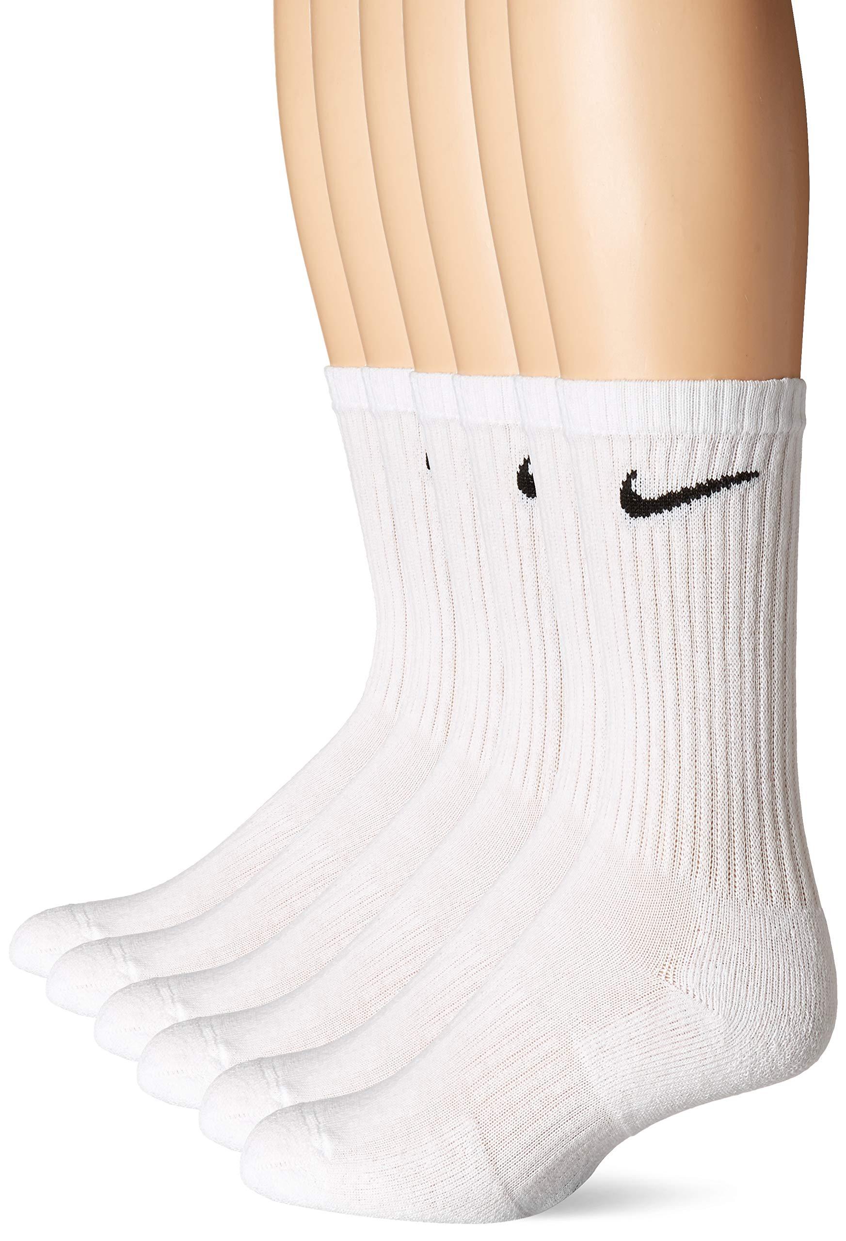 Nike Everyday Cushion Crew Socks, Unisex Nike Socks, White/Black, L (Pack of 6 Pairs of Socks) by Nike