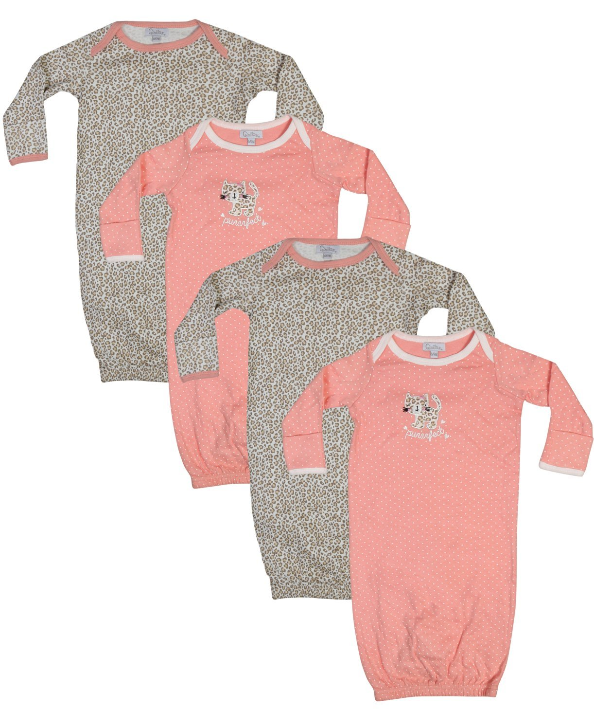 Quiltex Baby Girls and Boys Cotton Gown (4 Pack) Purrfect, 3-6 Months'