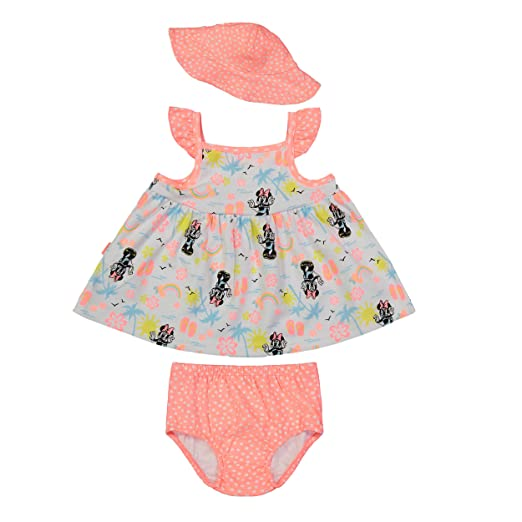 Disney Minnie Mouse Infant Baby Girls  Sunhat Dress and Diaper Cover Set (0- 876a5cc51359