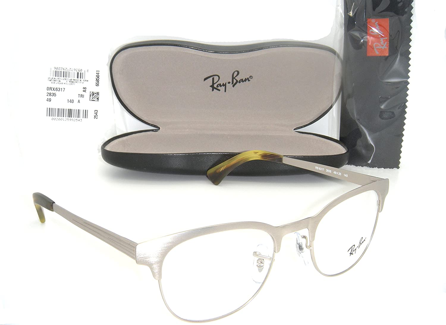 d8d11ea7d6 Ray-Ban Clubmaster EYEGLASSES RB 6317 2835 49MM Matte Silver RX READY  FRAME  Amazon.ca  Shoes   Handbags
