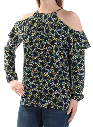 79945c2122b Michael Kors Womens Navy Cold Shoulder Sheer Floral Long Sleeve Jewel Neck  Top Size  S  Amazon.co.uk  Clothing