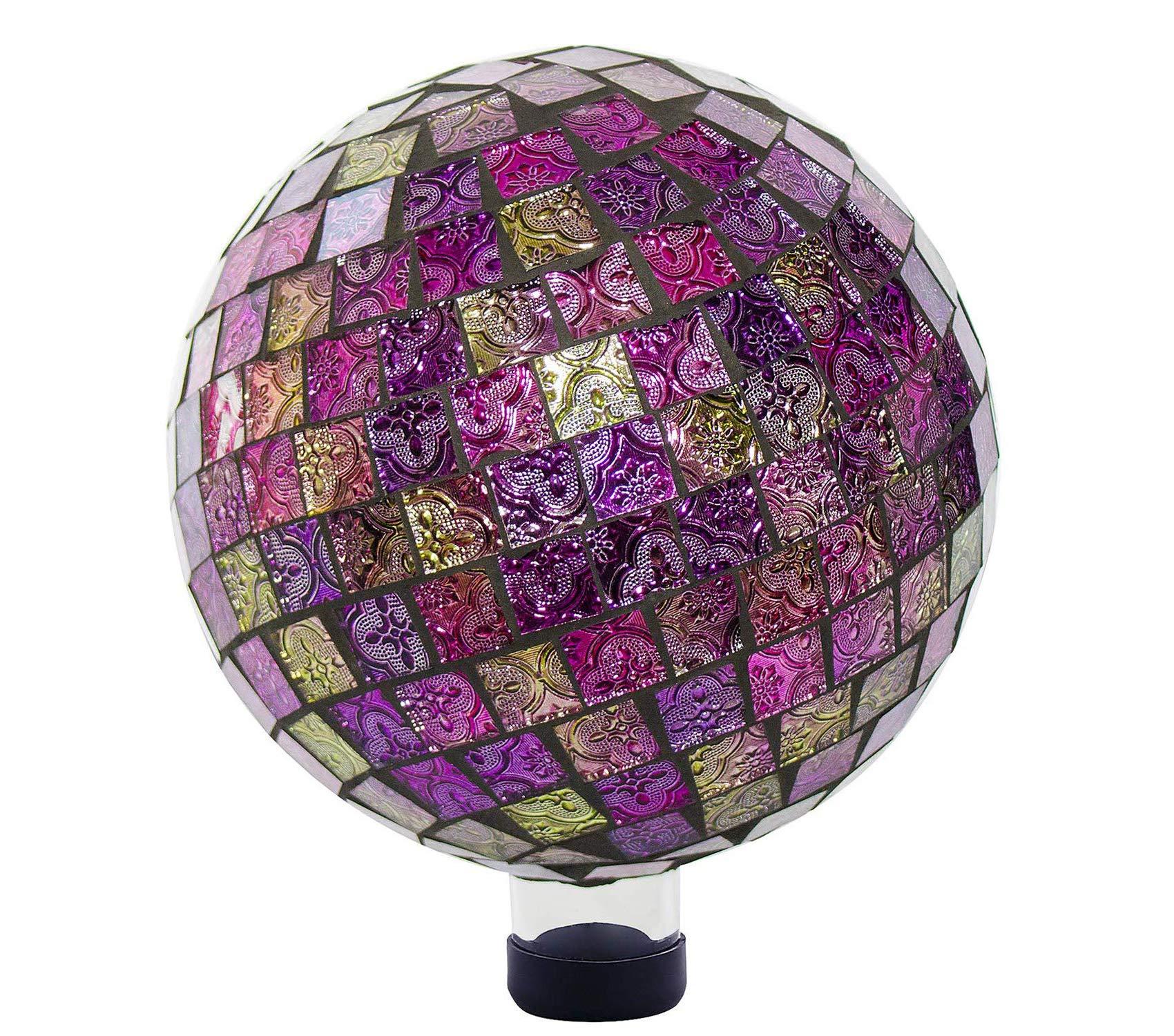 Outdoor Garden Backyard Décor Mosaic Gazing Globe, 11 Inch Tall, Violet