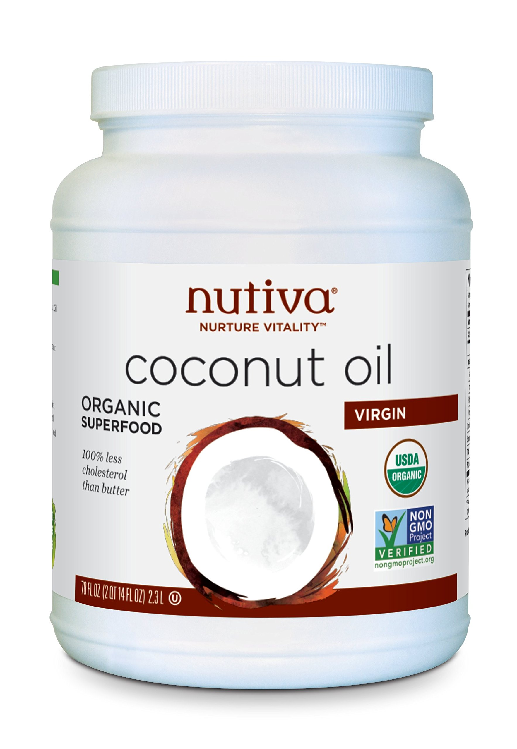 Nutiva Organic, Cold-Pressed, Unrefined, Virgin Coconut Oil from Fresh, non-GMO, Sustainably Farmed Coconuts, 78 Fluid Ounces