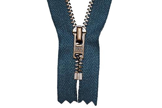 Reißverschluss jeansblau 14cm für Hosen 4mm Metallzähne brüniert//dunkles messing