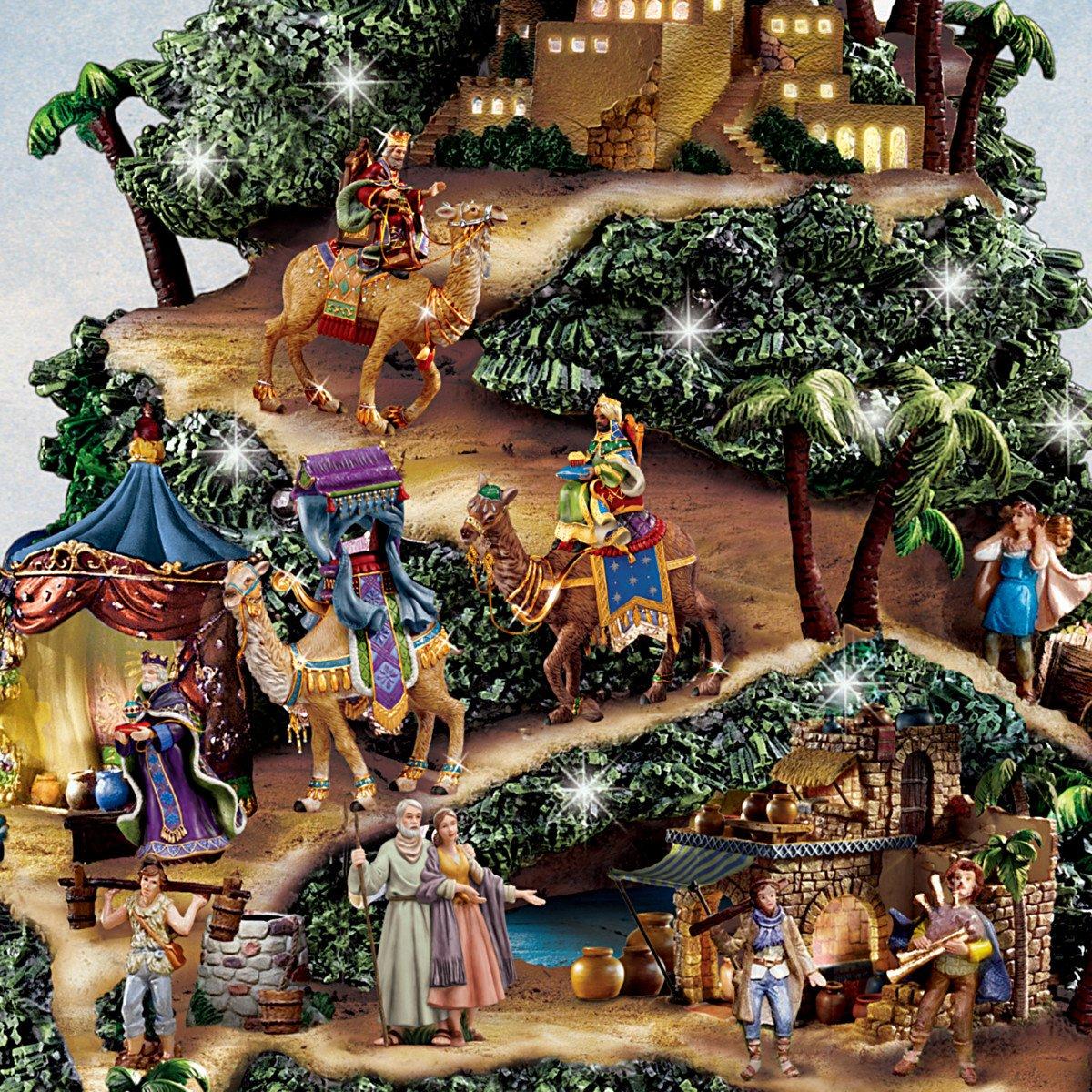 Amazon.com: Thomas Kinkade Illuminated Nativity Tabletop Tree: Glory ...
