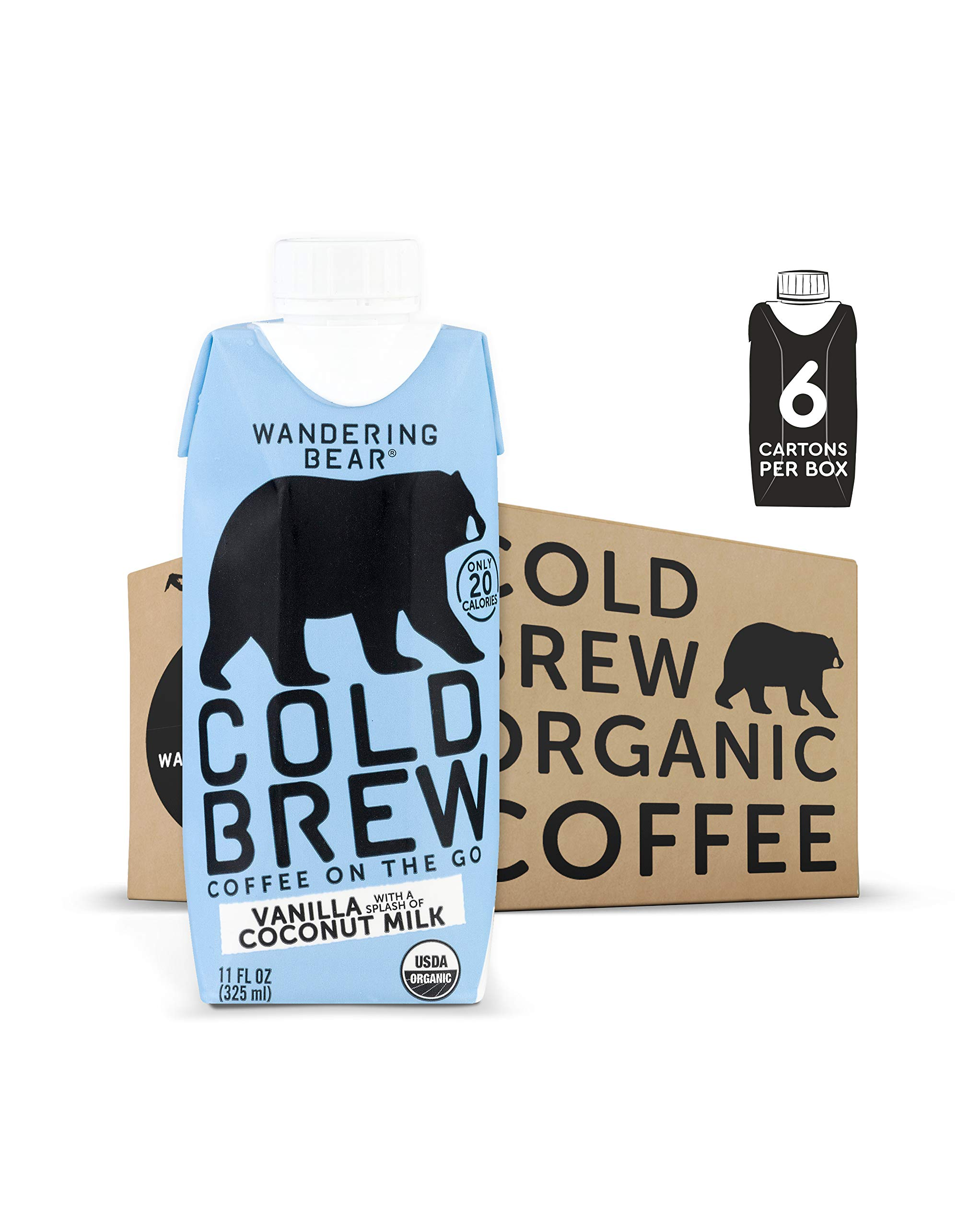 Wandering Bear Organic Cold Brew Coffee On-the-Go 11 oz Carton, Vanilla With Splash of Coconut Milk, No Sugar, Ready to Drink, Not a Concentrate (Pack of 6)