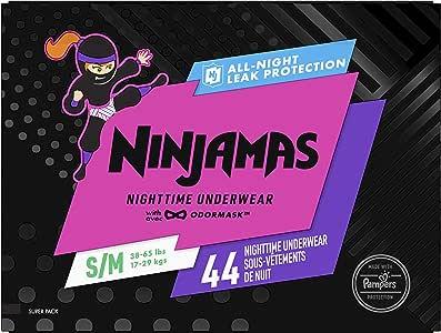 Pampers Ninjamas, Disposable Underwear, Nighttime Underwear Girls, 44 Count, Size S/M (38-65 lbs)