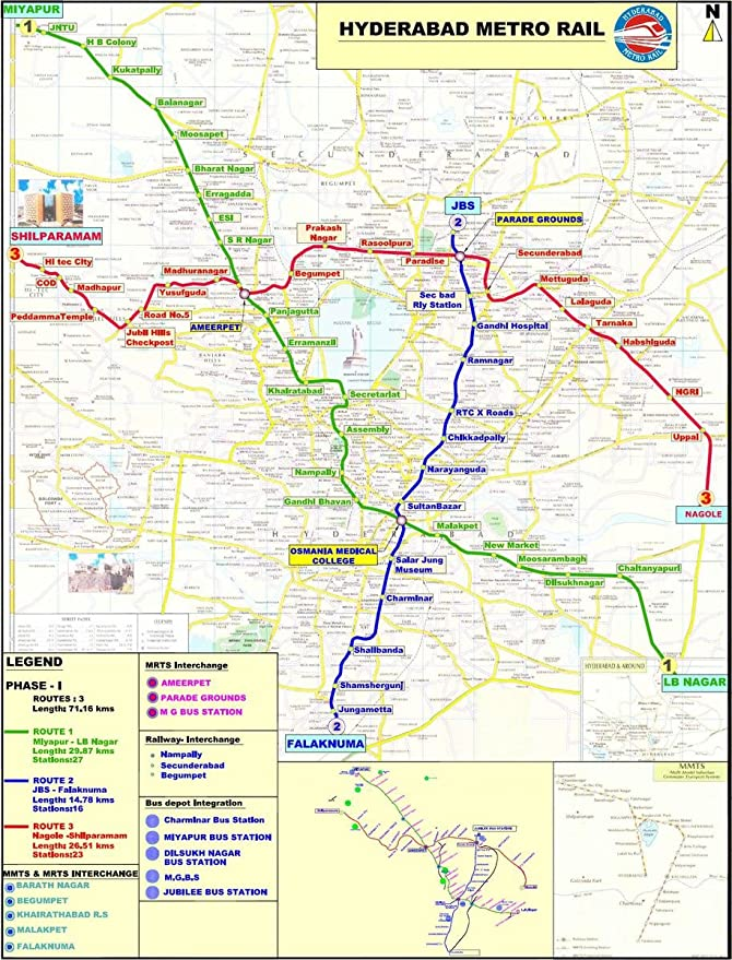 Amazon Com Gifts Delight Laminated 21x28 Poster This Is The Route Map Of Hyderabad Metro Rail Posters Prints