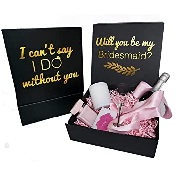 Bridesmaid Proposal Box Black With Gold Text 1 Empty Boxes With Magnetic Closure I Can T Say I Do