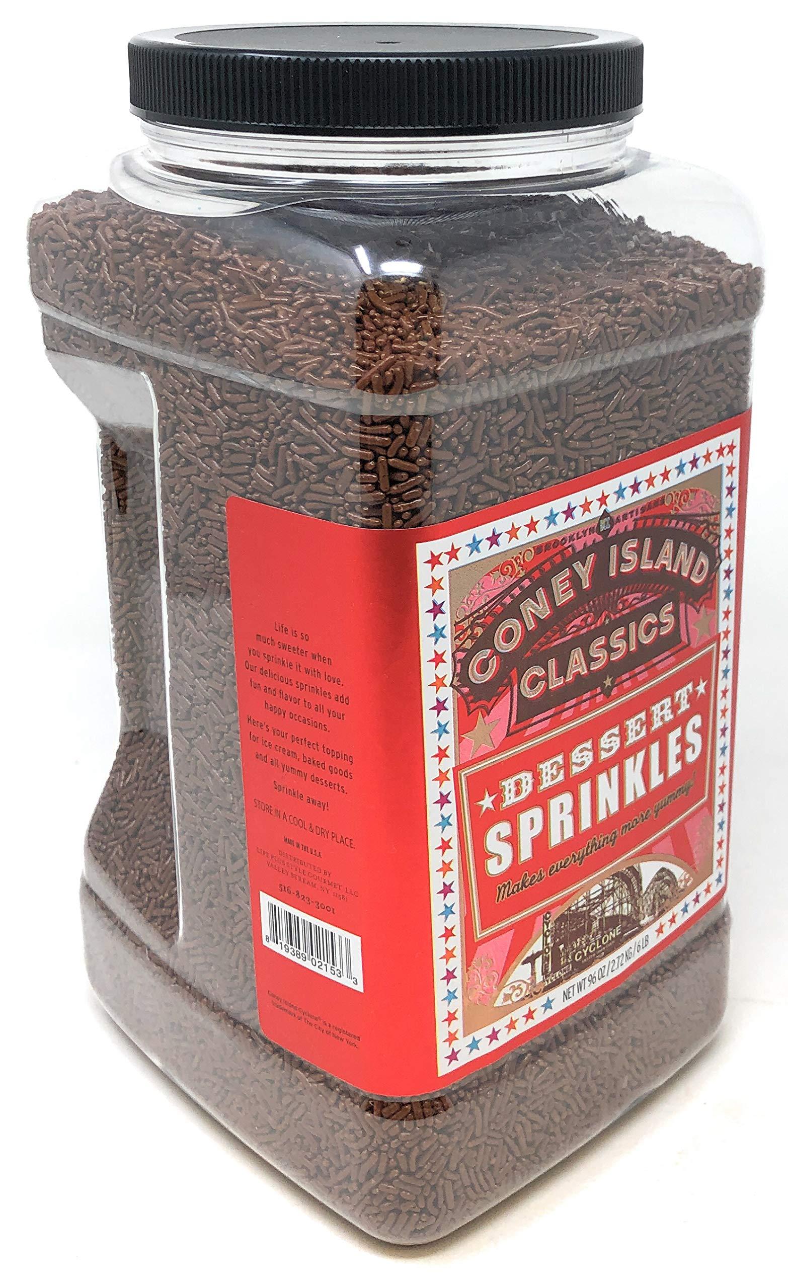 Brooklyn Artisans Premium Gourmet Decorative Dessert Chocolate Sprinkles Jimmies Bulk Reusable Jar 6 Lbs (Made in USA) Kosher by CONEY ISLAND CLASSICS