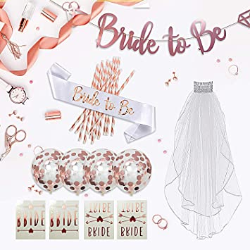 d89bdde35d4 Amazon.com  Rose Gold Bachelorette Party Decorations Kit- 37 PCS ...