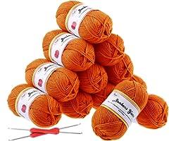 Fuyit 12 Orange Acrylic Yarn Skeins, 1310 Yards Soft Double Knitting Yarn with 2 Crochet Hooks for Beginner Knitting Crochet