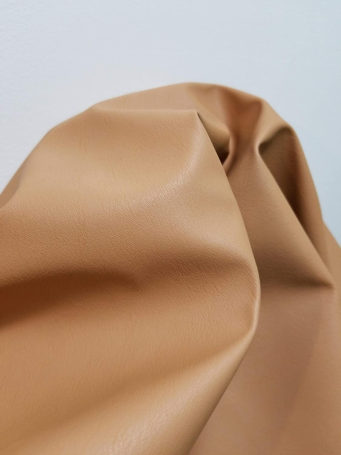 Nude Beige Cuoio Faux Vegan nubuck nappa finish Leather Synthetic Pleather 0.9 mm Madison 1 yard 52 inch wide x 36 inch long Vegetable tanned look Soft smooth vinyl Upholstery (Nude Beige Vachetta) NAT Leathers