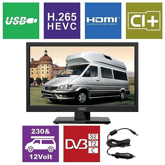 HKC 17H2: 43,9 cm (17 Zoll) LED-Fernseher (HD-Ready, Triple Tuner, CI+, Mediaplayer USB 2.0, 12V Kfz-Ladegerät) [Energieklass