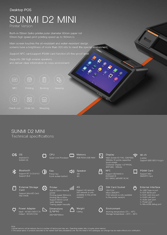 Sunmi D2 Mini AIO Android Kasse Speedy 4G NFC Drucker 58 mm Rksv /& Gdpdu