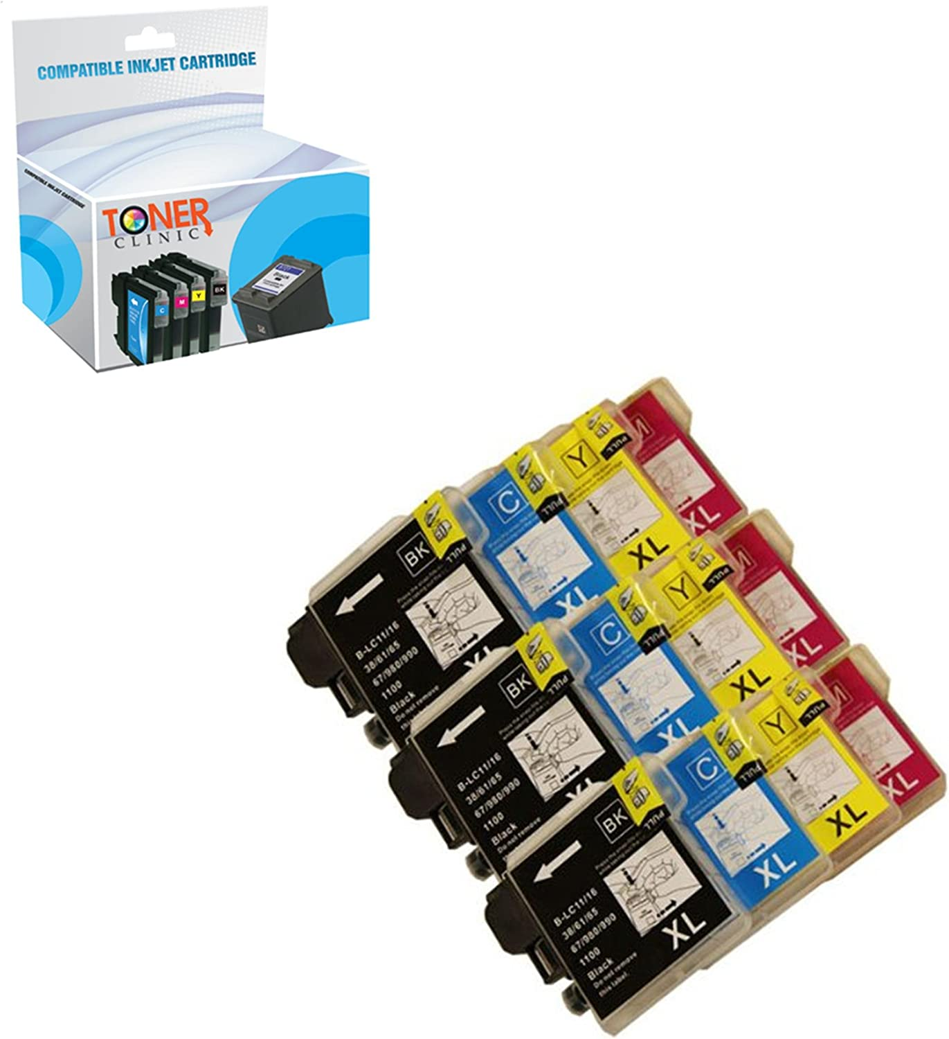 Toner Clinic TC-LC6112PK 3 Black 3 Cyan 3 Magenta 3 Yellow Compatible Inkjet Cartridge for Brother LC-61BK LC-61C LC-61M LC-61Y LC-61 LC-65 DCP-165C DCP-375CW DCP-385CW DCP-395CN DCP-585CW DCP-J125 MFC-250C MFC-255CW MFC-290C MFC-295CN MFC-490CW MFC-495CW