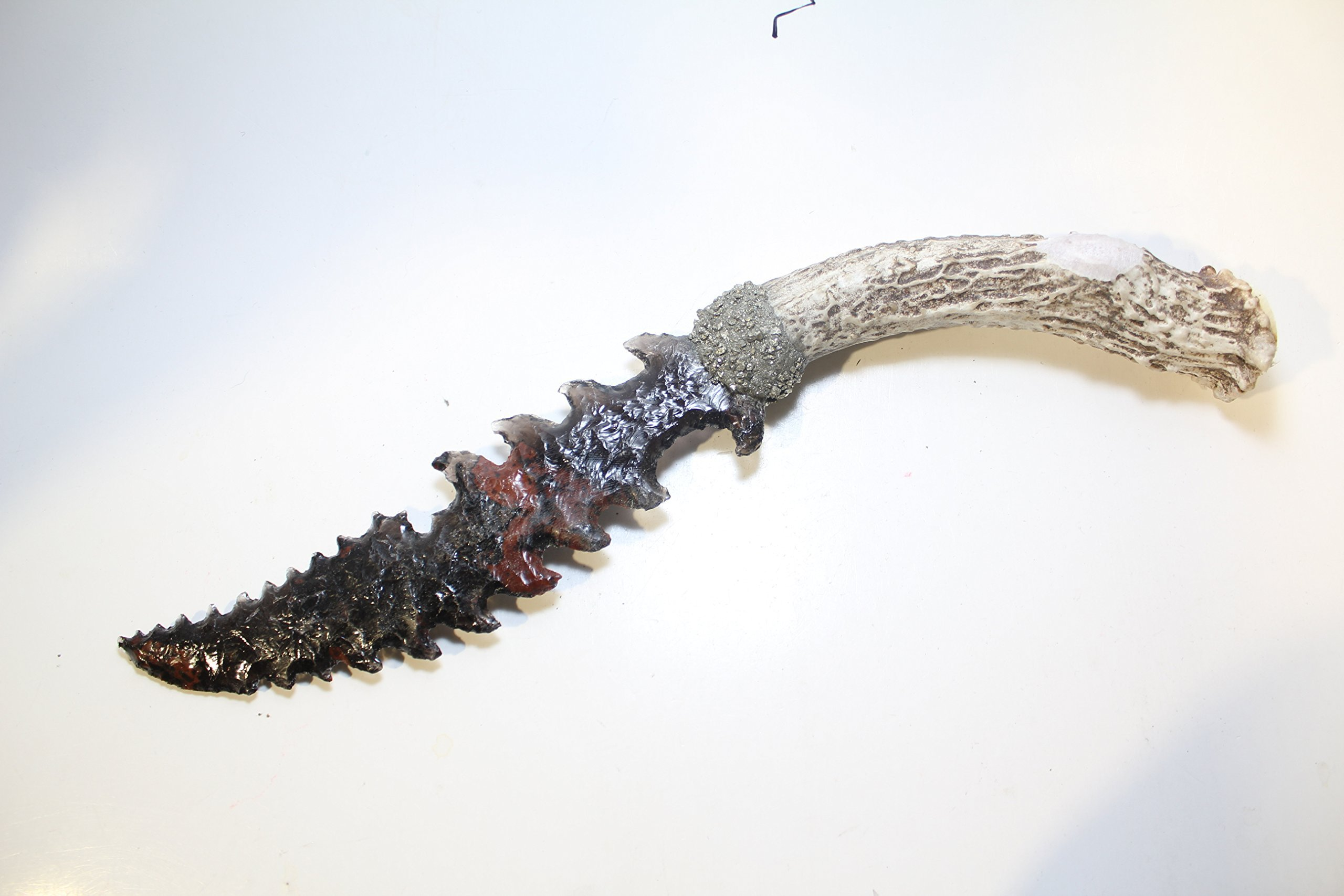 Triple Flow Triflow Obsidian Knife Blade Hafted on Deer Antler Handle Using Crushed Pyrite Mayan Eccentric Reverse Barbed Dagger Game of Thrones Inspired
