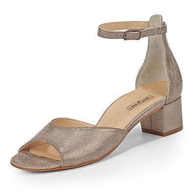 Paul Green 6039-019 Damen Sandalette aus Veloursleder Dezente Sohle mit Absatz