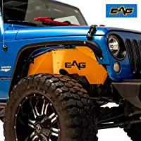 EAG JK Front and Rear Inner Fender Kit Sheet Metal Yellow 6PCS with Logo Cut Fit for 07-18 Jeep Wrangler JK