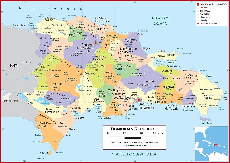 Amazon.com : Academia Maps - Wall Map of Dominican Republic ...