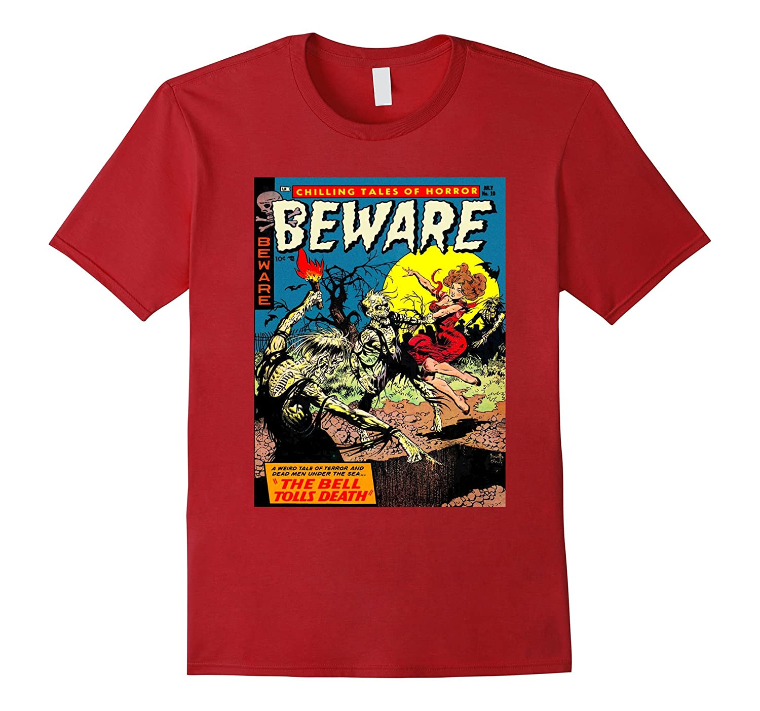 Beware Zombies - Vintage Horror Zombie Comic Book T Shirt-FL