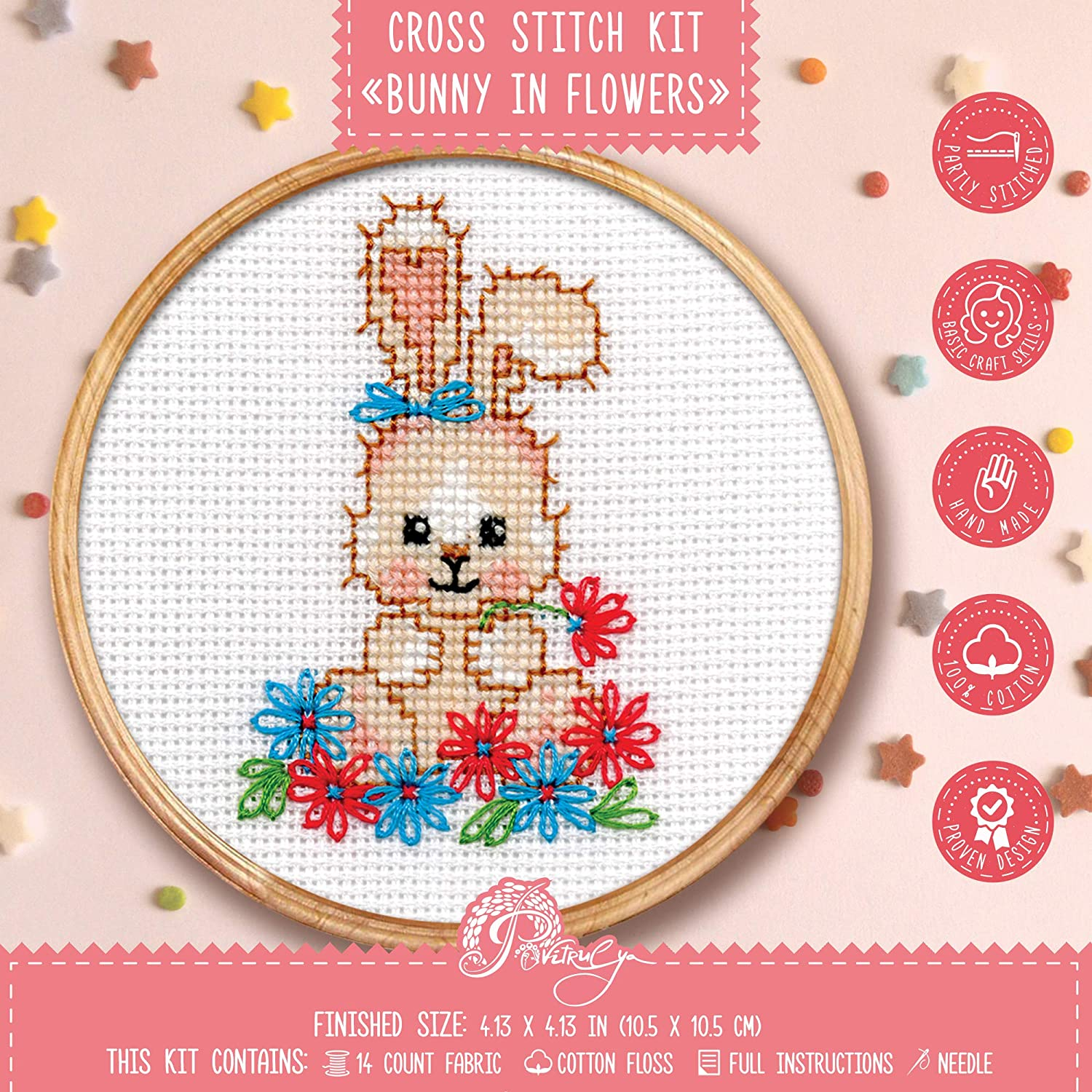 Cross Stitch Kit 'Bunny in Flowers' - DIY Spring Embroidery Design with Baby Rabbit Counted Pattern