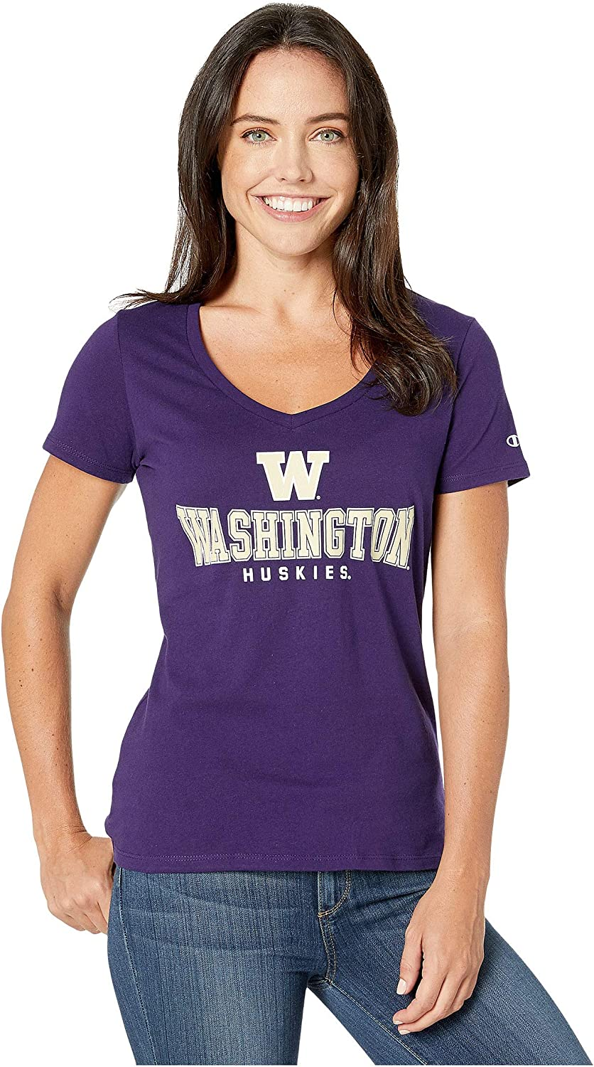 Champion NCAA Womens University Short Sleeve Tagless V-Neck Tee Washington Huskies Small