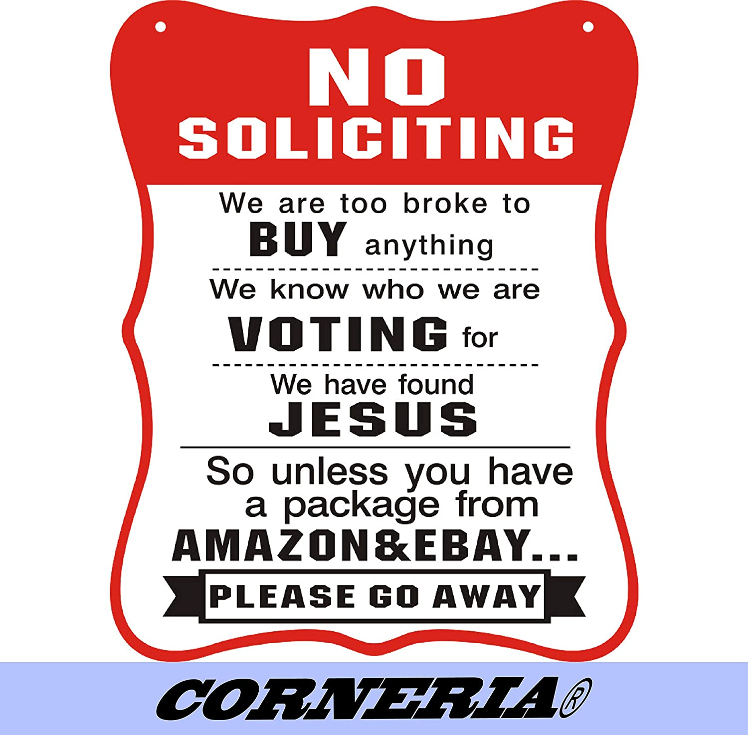 CORNERIA 8X10 Funny No Soliciting Signs No Solicitor Sign for House Door Business Unless You Have A Package from Amazon Yard Signs
