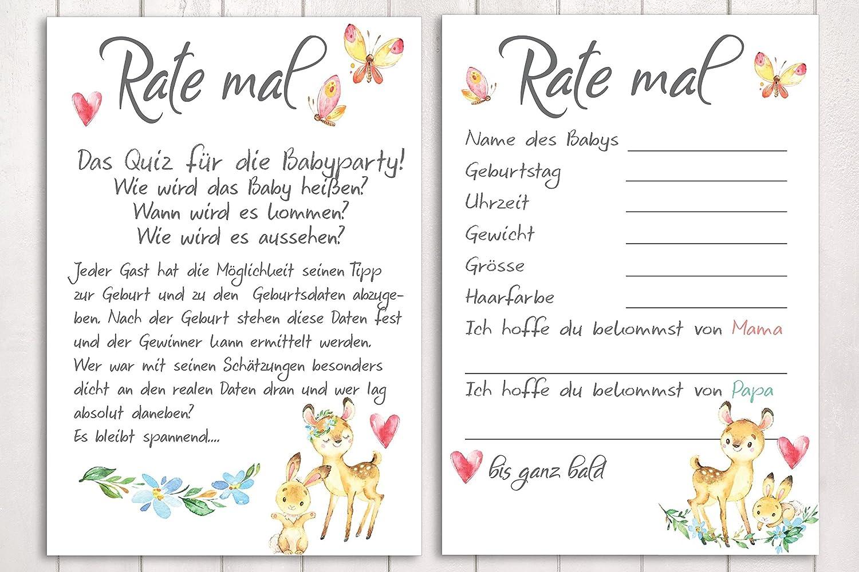 10 Karten Rate mal. Babyparty Spiel Wald Tiere