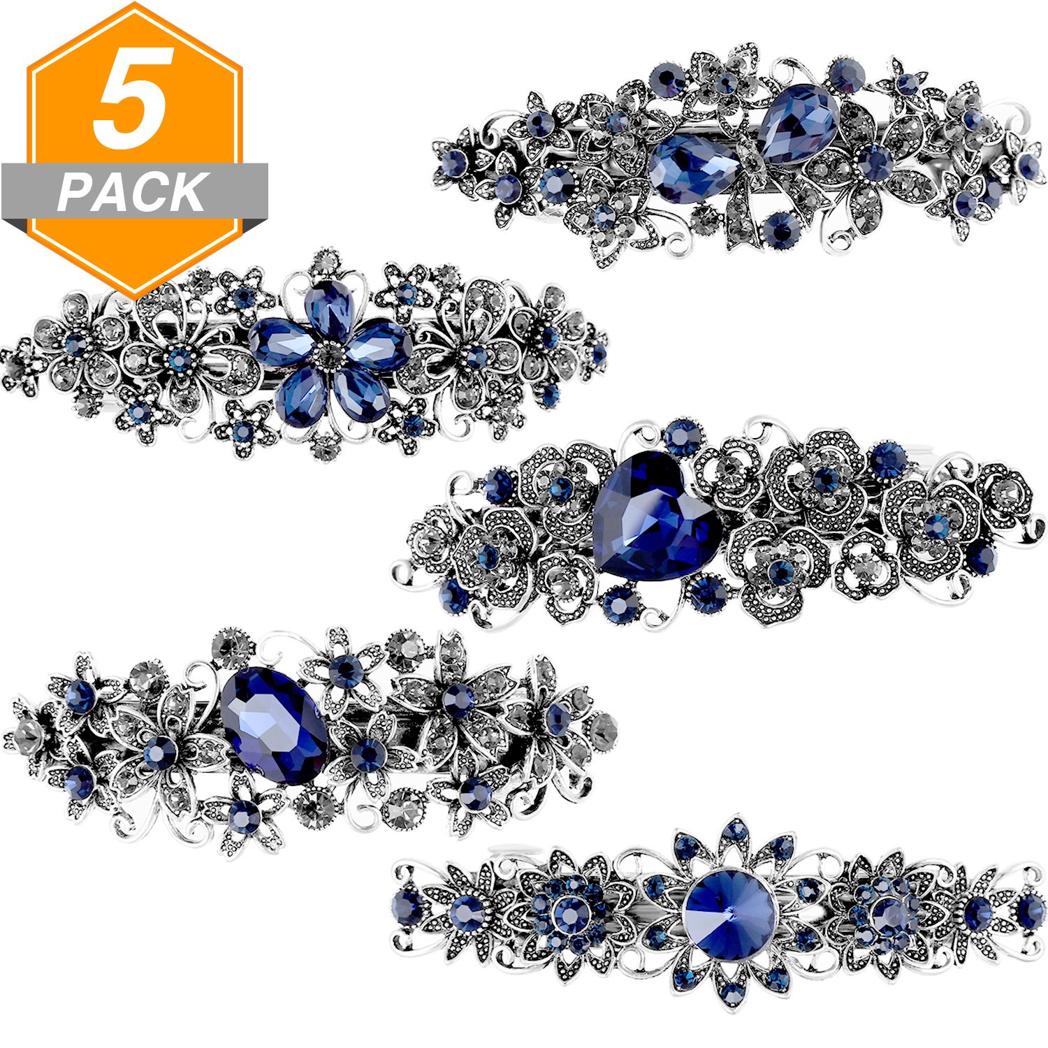 Gejoy 5 Pieces Vintage Rhinestone Hair Barrettes Faux Crystal French Spring Clips Metal Clip for Women and Girls, Black and Navy Blue