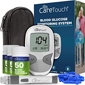 Care Touch Diabetes Testing Kit - Blood Glucose Monitor, 150 Blood Glucose Test Strips, 100 30-Gauge Lancets, Lancing Device, Battery, and Carrying Case | for Blood Sugar Testing and Monitoring