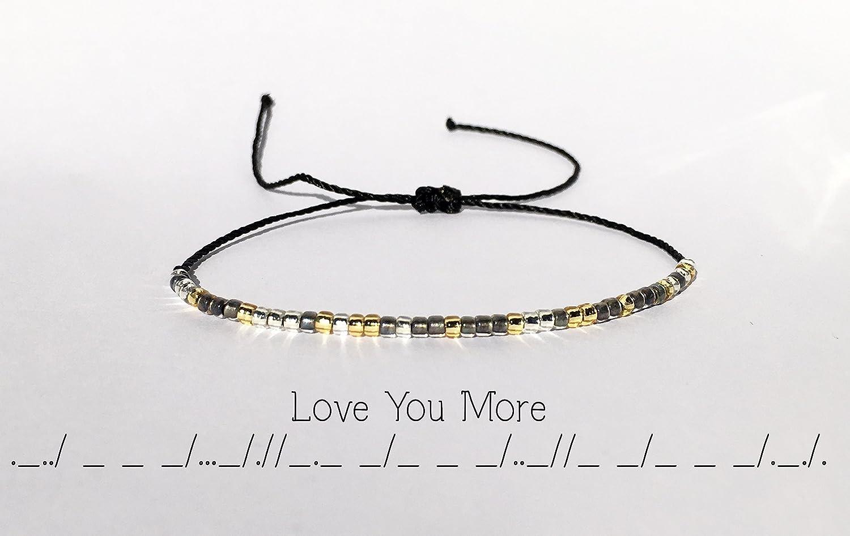 25f29c94ac30b Amazon.com: Love You More Morse Code Bracelet - Personalized Love ...