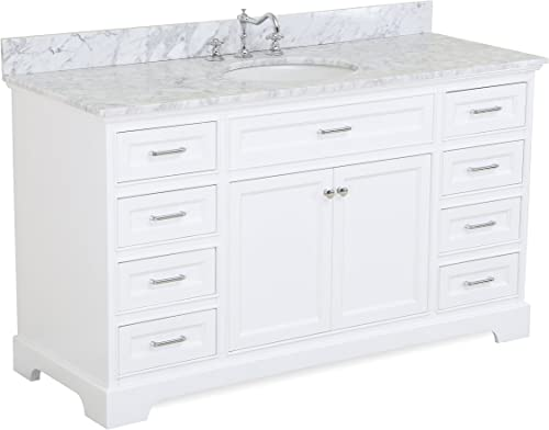 Aria 60-inch Single Bathroom Vanity Carrara White Includes a White Cabinet with Soft Close Drawers, Authentic Italian Carrara Marble Countertop, and White Ceramic Sink