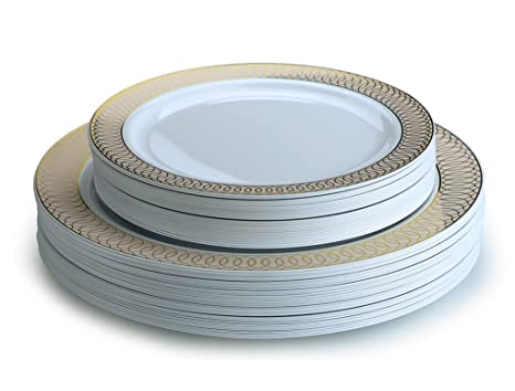 OCCASIONS 50 piece Party Disposable Dinnerware Set - Wedding Plastic Plates for 25 guests (25  sc 1 st  Amazon.com & Amazon.com: OCCASIONS 50 piece Party Disposable Dinnerware Set ...