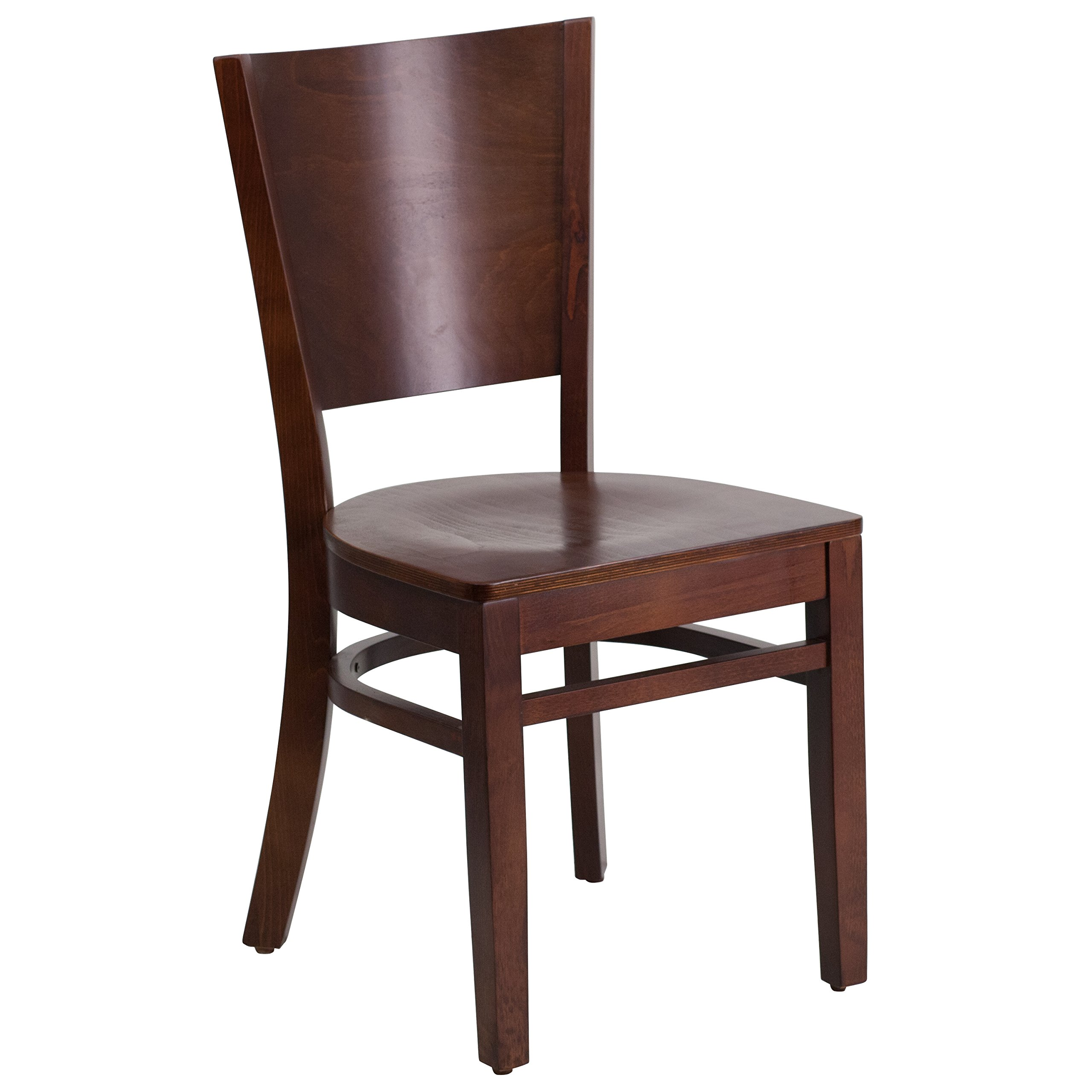 Flash Furniture Lacey Series Solid Back Walnut Wood Restaurant Chair