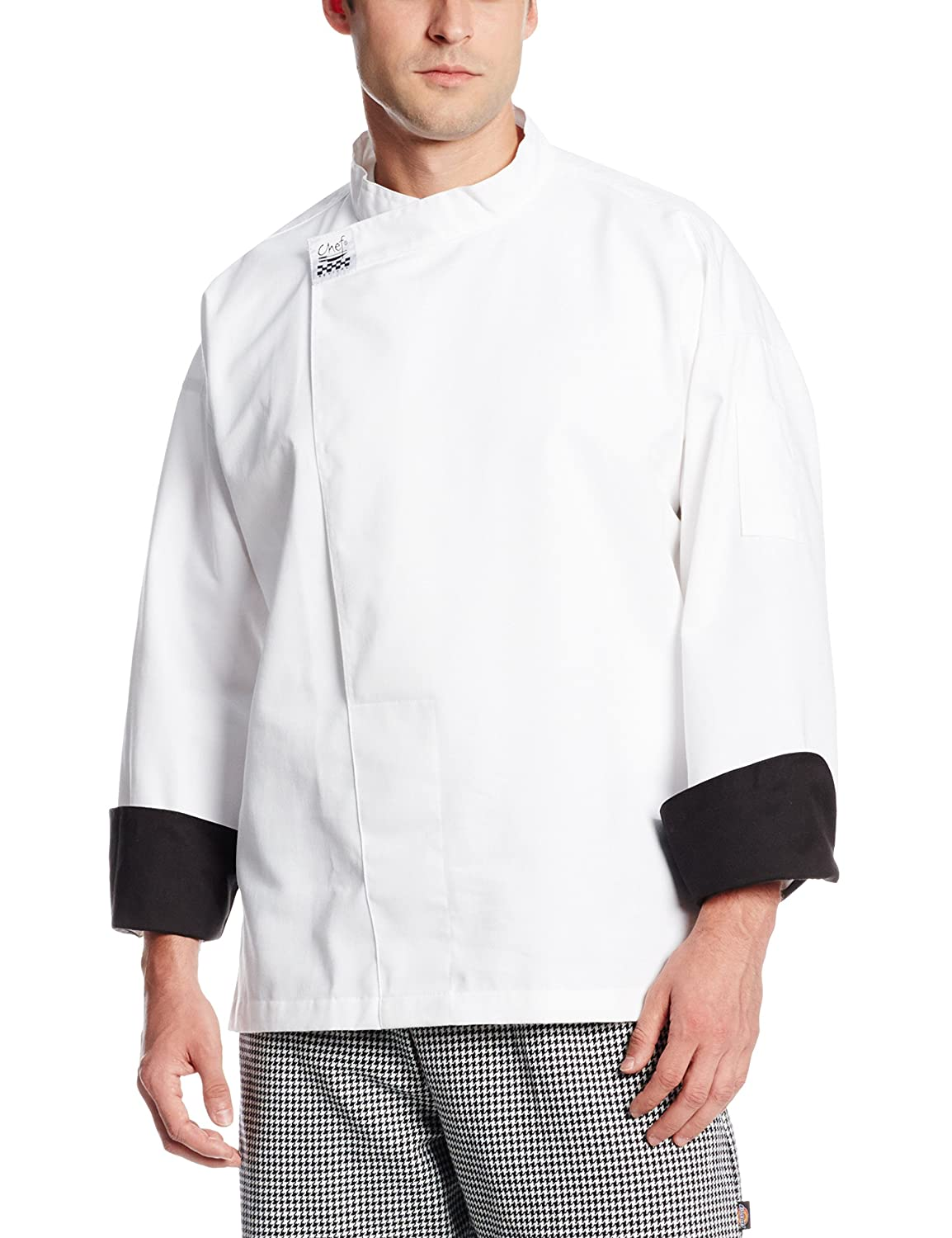 Chef Revival T001 Chef-Tex Poly Cotton Executive Long Sleeve Pullover Chef Tunic with Black Cuffs and Hidden Snap Closure, 3X-Large, White San Jamar T001-3X