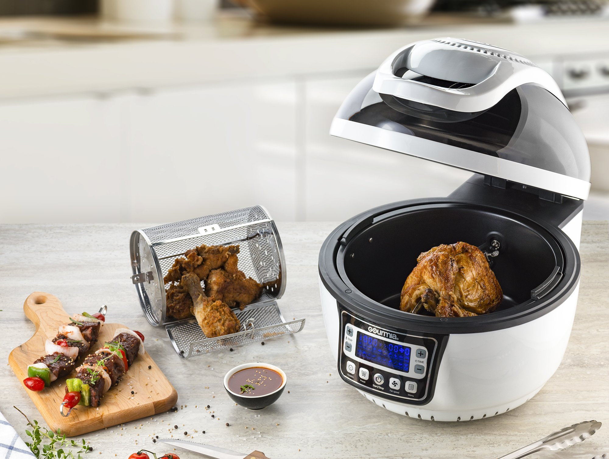 Gourmia GTA2800 WiFi Air Fryer - Multi Function Halogen Powered Rotating Rotisserie Grill & Electric Oven, 20 Cooking Functions, Programmable Timer, Includes 11pc Kit & Free Recipe Book - 110V by Gourmia (Image #2)