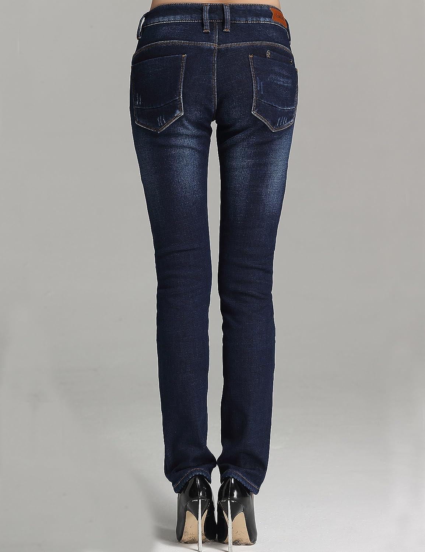 Camii Mia Damen Jeanshose Fleece Gef/üttert Slim Fit Dicke Winter Thermohose Low Rise Jeans