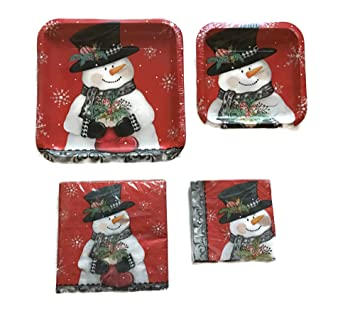 Christmas Holiday Snowman Design Party Paper Plates and Napkins Bundle of 4 Items 2 Packs  sc 1 st  Amazon.com & Amazon.com: Christmas Holiday Snowman Design Party Paper Plates and ...